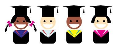 一个毕业生的风格化画象毕业盖帽的 库存照片