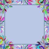 一个浅兰的花饰框架 免版税图库摄影