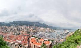 一个海湾的全景视图在摩纳哥 免版税库存图片