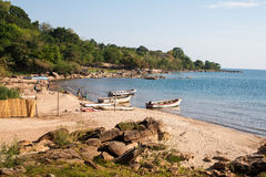 一个海湾的美丽的景色在马拉维 免版税库存照片