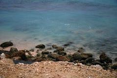 一个海滩的看法在巴厘岛,印度尼西亚 图库摄影