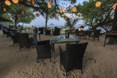 一个海滩的餐馆在酸值发埃发埃唐海岛在Krabi,泰国 库存图片