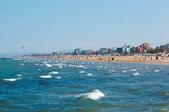 一个海滩在亚得里亚海在里米尼 免版税库存照片