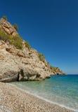 一个海滩在喀帕苏斯岛,希腊。 免版税库存照片