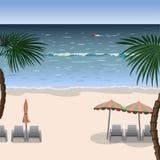 一个海滩的风景与白色沙子,海的 免版税库存照片