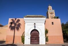 一个清真寺在马拉喀什,摩洛哥 免版税库存图片
