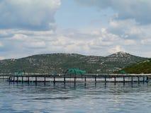 一个渔场在克罗地亚的亚得里亚海 免版税库存图片