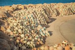 一个渔场码头在豪迈特苏格,海岛Jerba,突尼斯 免版税图库摄影