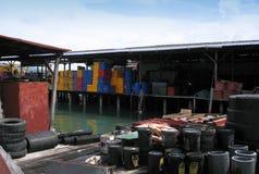 一个渔夫村庄在邦咯岛,马来西亚 库存图片