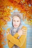 戴一个温暖的帽子的可爱的金发碧眼的女人的综合图象 免版税库存照片
