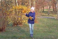 一个温暖的帽子的愉快的孩子女孩 秋天,步行在公园 免版税库存照片