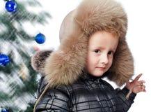一个温暖的帽子的男孩 库存图片