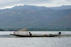 一个湖渔夫Inle湖缅甸Nyaung Shwe 免版税库存照片