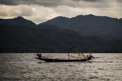 一个湖渔夫Inle湖缅甸Nyaung Shwe 免版税图库摄影