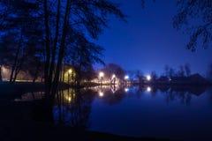一个湖的夜视图有城市的点燃和大厦 免版税库存图片