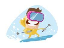 一个滑雪人的滑稽的例证 免版税图库摄影