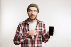 一个激动的有胡子的人的画象格子花呢上衣的 库存照片
