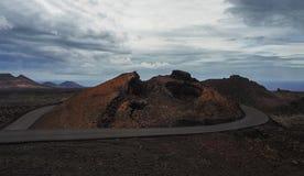 一个火山岛费埃特文图拉岛, Canarian海岛,西班牙的美好的沙漠风景 图库摄影