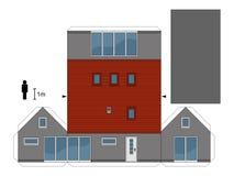 一个灰色房子的纸模型 图库摄影