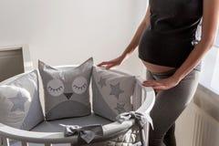 一个灰色礼服身分的年轻人怀孕的女孩 免版税库存照片