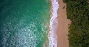 一个热带加勒比海滩的空中寄生虫视图在Bocas del托罗,巴拿马的 影视素材