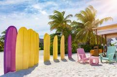 一个热带海滩的冲浪者休息室 库存图片