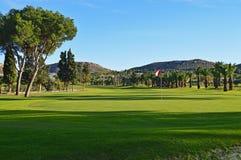 一个热带高尔夫球场 库存照片