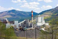 一个燃煤电厂在北加拿大 库存照片