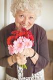 一个爱恋的祖母的花在母亲节 库存图片