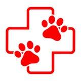 一个狗` s爪子的例证在一个医疗十字架的背景的 免版税库存图片