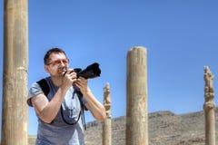 一个独立旅客独自地远航照片废墟 库存图片