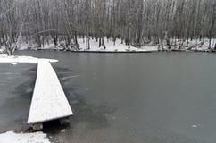一个狭窄的人行桥向最近结冰的池塘 图库摄影