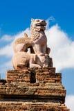 一个狮子雕象在Bagan 免版税库存照片