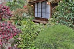 一个现代大阳台和庭院有禅宗样式的 库存照片