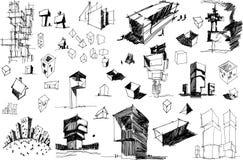 一个现代抽象建筑学和几何对象的许多建筑剪影 库存例证