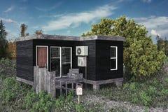 一个现代模件房子的例证 免版税库存照片