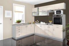 一个现代厨房的内部,木家具,简单和干净 免版税图库摄影