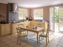 一个现代厨房的内部 库存图片