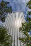一个现代大厦的看法与一些植被的在外部 库存图片