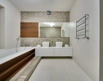 一个现代样式的卫生间 库存照片