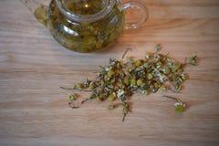 一个玻璃茶罐的一个健康饮料摄影图象用与新鲜的叶子的热的甘菊茶填装了在木背景 库存照片
