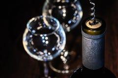 一个瓶与拔塞螺旋的酒 免版税库存照片