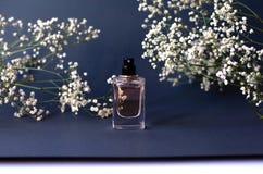 一个瓶子在黑背景的香水与麦 库存照片