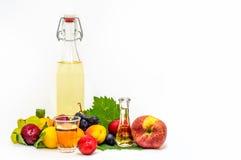 一个瓶家庭做的白兰地酒用秋天果子 免版税库存图片
