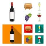一个瓶红葡萄酒,葡萄酒桶,一杯香槟,束 在动画片的葡萄酒酿造集合汇集象,平 免版税图库摄影