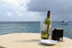 一个瓶葡萄酒酒服务给冰桶的游人在海滨胜地 免版税库存照片