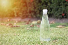 一个瓶饮用水在绿色草坪被安置 免版税库存图片