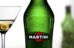 一个瓶马蒂尼鸡尾酒 免版税库存照片