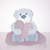 一个甜例证为与玩具熊和纸情书心脏的情人节, 库存图片