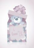 一个甜例证为与玩具熊在礼物盒,爱消息的情人节 免版税库存照片